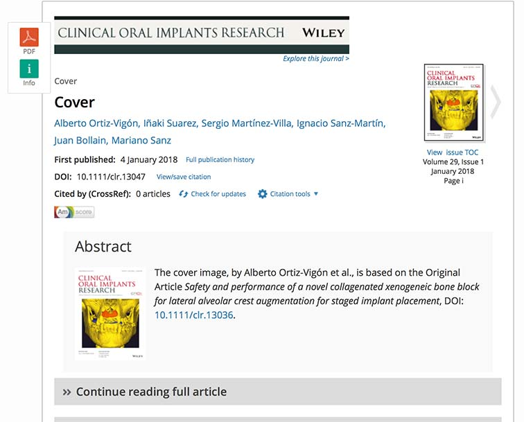 La tesis del Dr. Ortiz-Vigón aparece en la portada de la revista científica Clinical Oral Implants Research