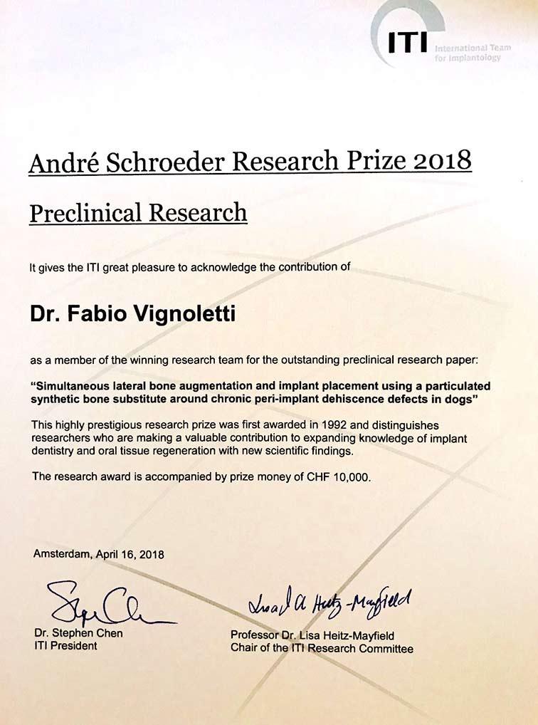 El Dr. Fabio Vignoletti recibe el prestigioso premio André Schroeder a la investigación